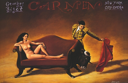 Carmen. Poster by Rafal Olbinski. New York City Opera