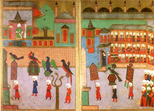 Procession of the guilds in front of the Sultan in the Hippodrome, Ottoman miniature (1582)