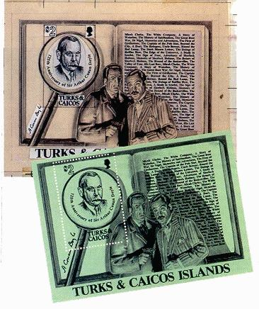 Sir Arthur Conan Doyle. Sherlock Holmes. Turks & Caicos islands 1984