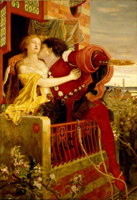 Romeo and Juliet. The balcony. Painting by Ford Madox Brown, 1870