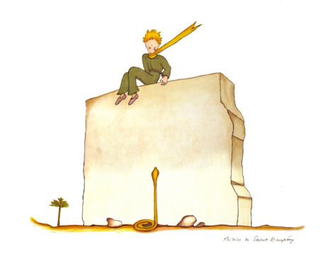 Antoine de Saint Exupery. Le Petit Prince et le serpent