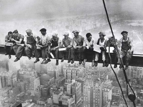 Lunchtime atop a Skyscraper. Rockefeller Center. New York City, United States. 1932